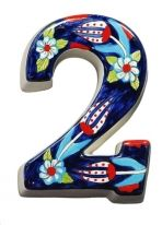 Large Ceramic House address number 2, Dark Blue, 4.7inch Tall, Hand Decorated, House number signs, Door numbers, Housewarming gifts