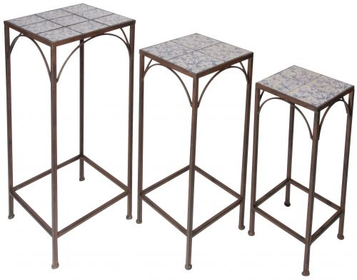 Aged ceramic set of 3 plant tables