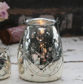 Antique Silver Glass Tealight