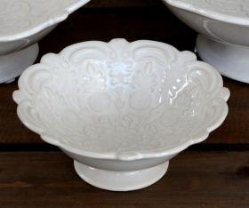 House2Home Vintage  Seramik Dekoratif Kase Beyaz - Küçük