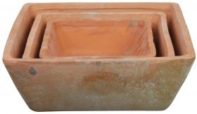 Set of 3 flower pots square - Aged Terra cotta