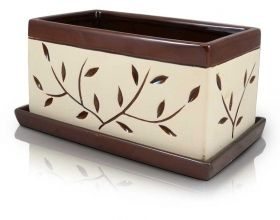 Rectangular Cream and Brown Ceramic Flower Pot
