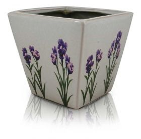 Square Flower Pot with Lavender Print