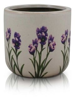 Round Flower Pot with Lavender Print