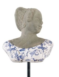 Aged ceramic  Bust on stick small blue/white