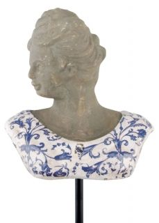 Aged ceramic Bust  small blue/white    14,8x8,7cm