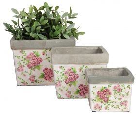 Rose print flower square pots set/3