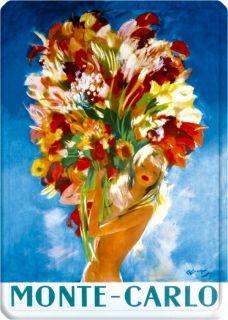 Metal Poster - MONTE CARLO DOMERGUE FEMME AU BOUQET METAL 15X21