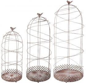 Plant support aged metal set of 3