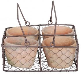 4 pots in wire basket with 2 grips aged terra cotta