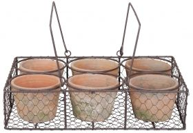6 pots in wire basket with 2 grips aged terra cotta