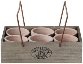 6 pots in crate with hanger aged terra cotta