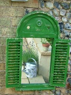 Mirror Louvre distressed green