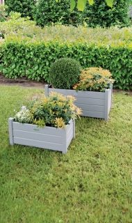 Rect. Planters set of 2 grey