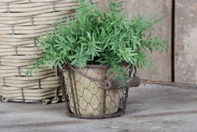 Single pot in wire basket with hanger aged terra cotta