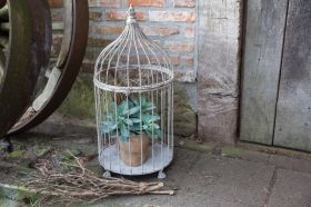 Aged Metal Birdcage set of 2