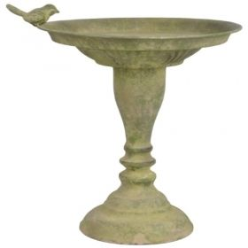 Aged Metal Green standing bird bath