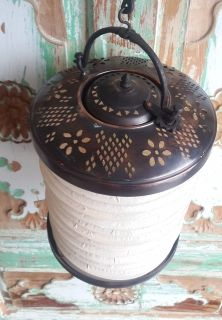 "Handmade Ottoman Hanging Copper Lantern Dia: 9.84"" Lamp Candle Holder Concertina Lantern"