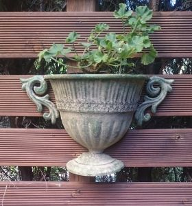 Aged Metal Green wall urn