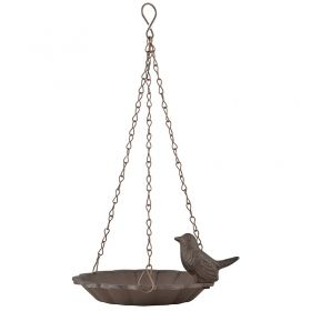 Hanging birdbath with 2 birds