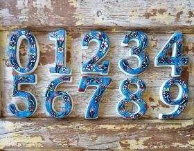 Large Ceramic House address number 1, Light Blue, 4.7inch Tall, Hand Decorated, House number signs, Door numbers, Housewarming gifts