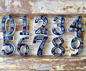 Large Ceramic House address number 1, Dark Blue, 4.7inch Tall, Hand Decorated, House number signs, Door numbers, Housewarming gifts