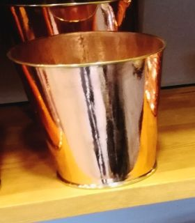 Polished Round copper planter