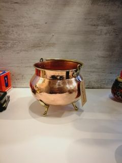 Small Copper Cauldron Planter with brass foot