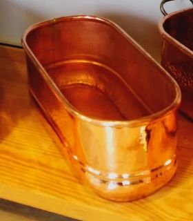 Heavy solid copper oblong planter without handle