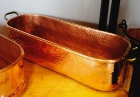 Heavy solid copper oblong planter with solid brass  handles  L: 20.50inch