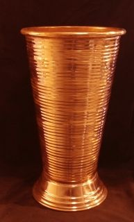 Tall ribbed copper vase