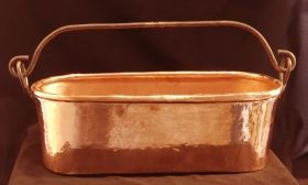Heavy solid copper oblong planter with hand forged handle