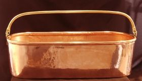 Heavy solid copper oblong planter with solid brass  handles