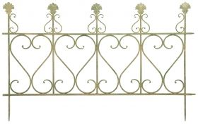 Aged Metal Green Fence (large)  121,0 x 2,0 x 77,7cm