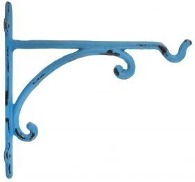 Hanging Basket Hook, Cast Iron, Blue