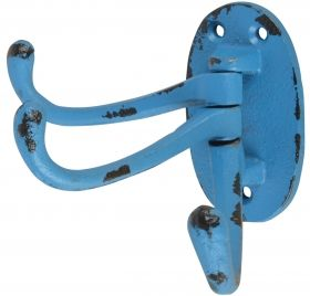 Swivel Triple Hook, Cast Iron, Blue