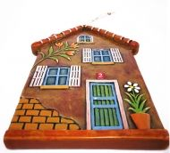 Handmade Ceramic Little House with Flowers, Tuscany Color,Wall Art, Tuscany Color, Ceramic Art, Sculptural Ceramic tile, Wall Hanging, Home decor, Pastel Wall Decor, Gift For Home