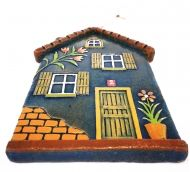 Handmade Ceramic Little House with Flowers, Dark Green,Wall Art, Tuscany Color, Ceramic Art, Sculptural Ceramic tile, Wall Hanging, Home decor, Pastel Wall Decor, Gift For Home