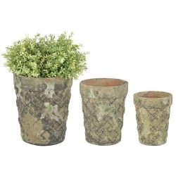 Aged ceramic  Round Planters set of 3