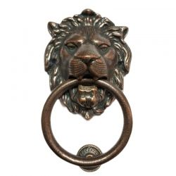 Anatolica Regency Lions Head Solid Brass Door Knocker, Black Oxide Finish