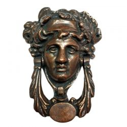 Anatolica Grecian Goddess Solid Brass Door Knocker,Regency Dionysus Face, Antique Finish