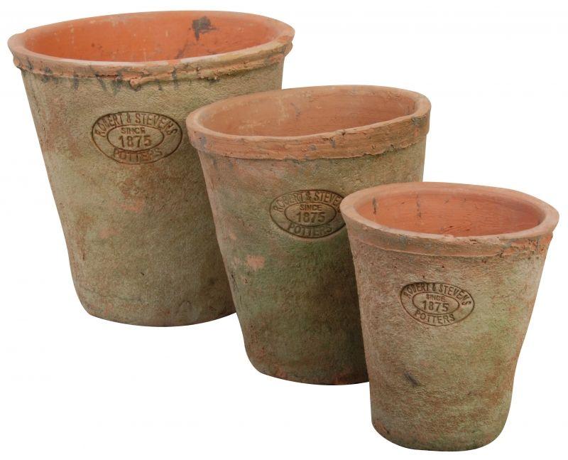 Set of 3 flower pots round - Aged Terracotta