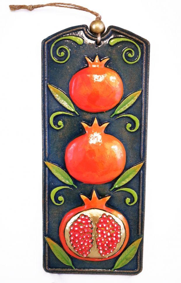 Handmade Ceramic Pomegranate Wall Art Green Sculptural Tile Hanging Home Decor Pastel Gift For