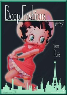 Metal Kartpostal - BETTY BOOP PARIS 15 x 21