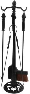 Fire place toolstand + 4 pieces black