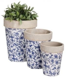 Aged ceramic  Set of 3 large round flowerpots blue/white