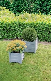 Square planters set of 2 grey