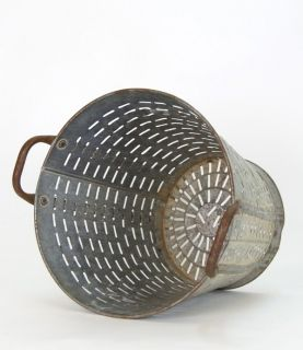 Found Vintage Metal Olive Bucket