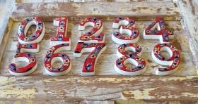 Large Ceramic House address number 3, Red, 4.7inch Tall, Hand Decorated, House number signs, Door numbers, Housewarming gifts