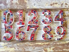 Large Ceramic House address number 6, Red, 4.7inch Tall, Hand Decorated, House number signs, Door numbers, Housewarming gifts